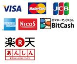 各種クレジットカード/VISA/MASTER/JCB/アメリカンエキスプレス/三菱UFJニコス/ビットキャッシュ EX/楽天あんしん支払いサービス